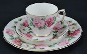 Royal Victoria Trio Cabbage Roses Red White Pink Teacup Saucer Dessert Plate