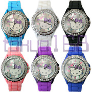 Cute Hello Kitty Silicone Rubber Watch With Ice Crystal Bezel Brand Newtokyo168