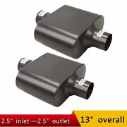 Pair Single Chamber 2.5 Center Inlet / Outlet Performance Race Mufflers
