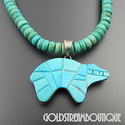 Zuni Sterling Silver Turquoise Gilson Opal Inlay Bear Beaded Reversible Necklace