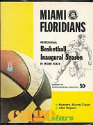 11-29-1968 Aba Program New Orleans @ Miami Floridians 2nd Year Aba
