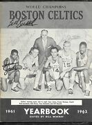 1961-62 Boston Celtics Yearbook Sign By Bill Russell + 9 Others Psa/jsa