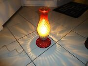 Vintage Desk Table 14 Tall Lamp-red-depression Glass-electric Working Condition
