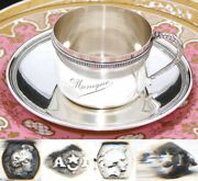 Antique French .800 Nearly Sterling Silver Tea Cup And Saucer Large Monique