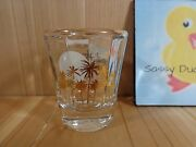 Souvenir Shot Glass Las Vegas Nevada Sunset Palm Trees Clear Ribbed Gold Accents