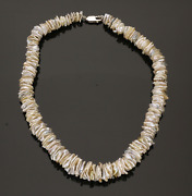 Cultured Keshi Pearl Necklace. Natural Colours.  17 Inches. 13mm Pearl