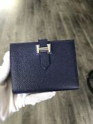 100 Authentic Hermes Mini Bearn Sapphire Blue Wallet In Epsom Leather
