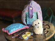 American Girl Coconut Dog With Dog House Bowls Leash And Mat. Original Edition