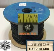 Vinyl Coated Steel Aircraft Cable Wire Rope 50 Ft 1/8 Vc 3/16 7x19 Black