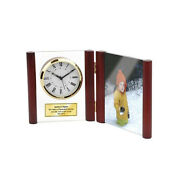 Hinged Glass Book Engraved Clock Wood Photo Frame 4x6 Picture Mantel Shelf