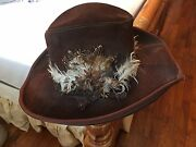 Vintage Leather Cowboy Hat With Feathers. Ladies Size 7 1/2 - 8