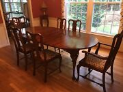 Traditional Expandable Dining Table, Queen Anne Reproduction, 6 Chairs