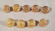 9 Military Uniform Usn Navy All Brass Buttons Superior Fine Quality Mix