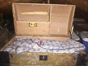 Antique Dome Top Tin / Wood Ornate Steamer Trunk Late 1800s - Victorian
