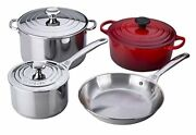 Le Creuset 7-piece Stainless Steel And Enameled Cast Iron Cookware Set Cherry Red
