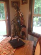 Paul Dubois Bronze Statue Woman With Mask 31h Signed