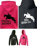 New Personalised Kids / Childand039s Plank Show Jumping Pony / Horse Hoody 1-13 Years