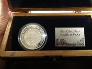 Rare 2005 50 Dollars .999 Fine Silver Fijiand039s Coral Reef 5 Oz. Silver Proof Coin