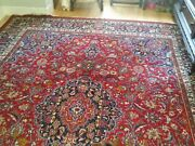 10 X 13 Hand Knotted Persian Mashad Wool Rug Antique 60+ Yrs Old
