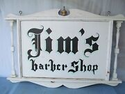 Antique Hand-painted Barber Shop Hanging Sign Double Sided Signed Folk Art 4and039x3and039