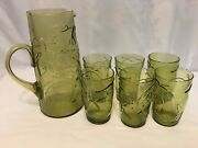 Vintage Depression Avocado Green Blownglass Pitcher And Drinking Glass Set