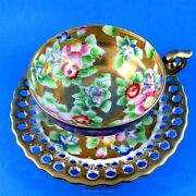 Okashi China Flowers On Heavy Gold Reticulated And Hand Painted Japan Cup And Saucer