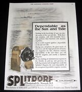 1919 Old Magazine Print Ad, Splitdorf Ignition, Dependable As The Sun And Tide