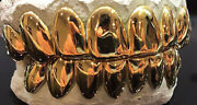 Solid 10k 14k 18k Real Yellow Gold Perm Cut Design Custom Fit Grill Grillz