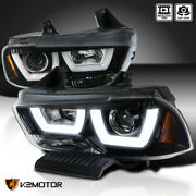 For 2011-2014 Dodge Charger Jet Black Dual Led Tube Projector Headlights Pair