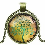 Antique Bronze Tree Of Life Cabochon Necklace Brass Pendant Yellow Layering
