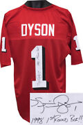 Kevin Dyson Signed Red Custom College Jersey 1 1998 1st Round Pick Xl - Jsa