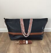 New Pottery Barn Ainsley Leather Weekender Travel Xl Tote Bag Cognac Black Rare