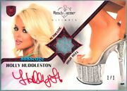 2010 Benchwarmer Ultimate Swatch Auto Holly Huddleston 1/1 Red Autograph Heel