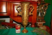 Vintage Chinese Middle Eastern India Brass Chalice Vase Dragon Handles Engraved