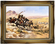 Russell Attack On A Wagon Train 1902 Wood Framed Canvas Print Repro 18x24