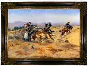 Russell When Cowboys Get In Trouble Mad Cow Wood Framed Canvas Print Repro 19x28