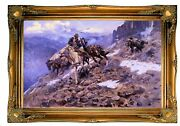 Russell Crippled But Still Coming Wood Framed Canvas Print Repro 19x30