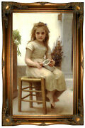 Bouguereau The Snack 1895 Wood Framed Canvas Print Repro 19x32