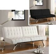 Convertible Futon Leather Sofa Bed Futons Couch Metal Legs Lounger Sofas Sleeper