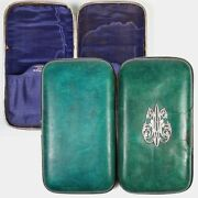 Rare 19th C. Antique French Shagreen, Galuchat And Sterling Silver Cigar Case