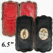 Antique French Cigar Case, 6.5 » Leather With Embroidery Insets, Napoleon Iii