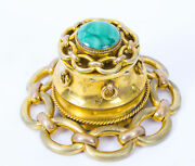 Antique Victorian Malachite And Ormolu Mounted Inkwell C1870