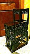 Antique Chinese Rosewood Handcarved Pierced Dragon Step Tansu Plant Stand 1