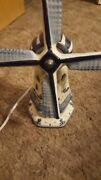 Art Deco Delftand039s Electric Ceramic Lamp Blue And White Windmill Landscape Painting