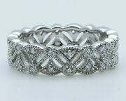 Platinum Vintage Style Eternity Ring 0.35ct Diamonds 1-only At Finger Size 6.25