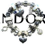 Authentic Pandora Silver Charm Bracelet With Charms Wedding Day White Ee52