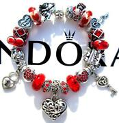 Authentic Pandora Silver Charm Bracelet With Charms Be My Valentine Ee99