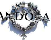 Authentic Pandora Silver Charm Bracelet With Charms Jet Setter Ee20