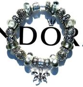 Authentic Pandora Silver Charm Bracelet With Charms Platinum Gray Ee24