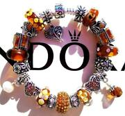 Authentic Pandora Silver Charm Bracelet With Charms Amber Sunset Ee50